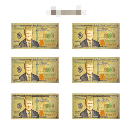 6 Pack Donald Trump Commemorative Million Dollar Novelty Banknote, 24k Gold-plated, Great Gift for Coin / Banknote Collectors or Republican