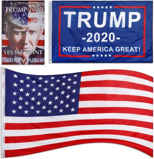 Kaqulec 3pcs Donald Trump 2020 Flags,We Want Him Again Flag 3X5 Foot,US Flag,Keep America Great Flag 3x5 ft with Brass Grommets
