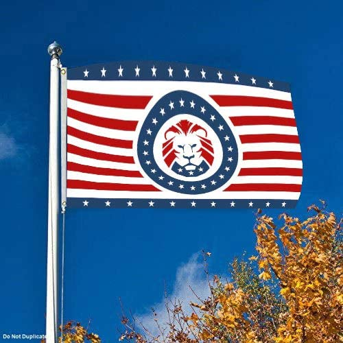 HHFF University Patriot Party Lion 3-Foot by 5-Foot Single Sided Banner Flag,Patriot Party Flag with Grommets