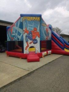 Super hero bounce house combo front