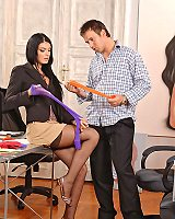Tall Brunette Office Babes Getting Sexy Feet Boned by Their Boss