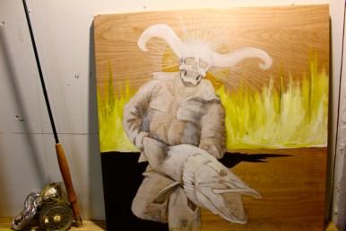 """Necromancer: November Ghost - in progress - 24"""" x 24"""" - next to sculpture -also in progress"""