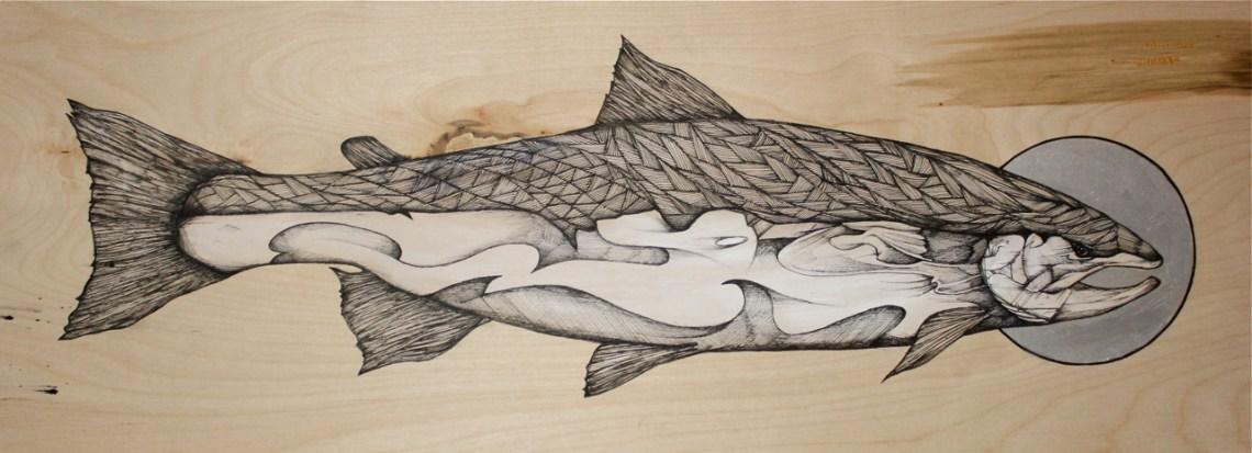 "Original - ""Slint's Steelhead"" | 2014 | 30"" x 11"" | Pen and acrylic on board"