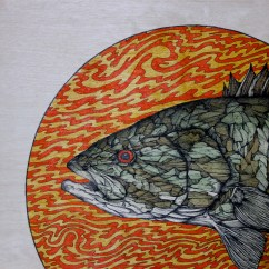 """Firebirds!   2015   12"""" x 12""""   Pen and ink on wood panel"""