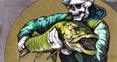 "Pilecastius the Dragon Slayer (Necromancer2 )   2014   12"" x 6""   Pen and watercolor on paper"