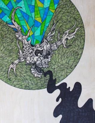 "Winter's Howl   2015   11"" x 14""   Mixed media on wood panel"