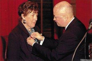Peggy Grant receiving Bene Merito medal in 2012