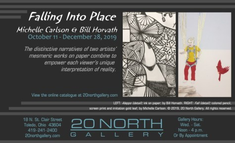 """Falling Into Place: Michelle Carlson & Bill Horvath"" exhibit postcard. The distinctive narratives of two artists' mesmeric works on paper combine to empower each viewer's unique interpretation of reality."