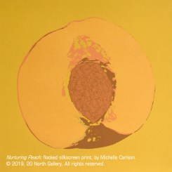 06_Nurturing Peach_flocked silkscreen print_by Michelle Carlson_10x10inches