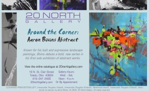 """Around the Corner: Aaron Bivins Abstract"" postcard"