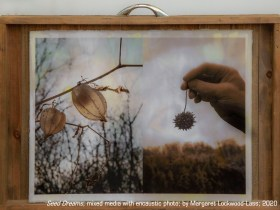"Honorable Mention: ""Seed Dreams"" encaustic photo and mixed media by Margaret Lockwood-Lass"