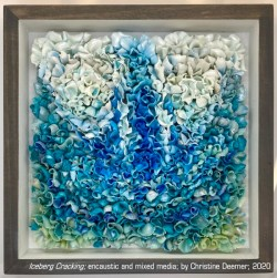 """Iceberg Cracking"" encaustic and mixed media by Christine Deemer"