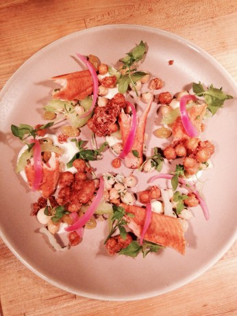 Smoked trout with chickpeas, sultanas, celery & preserved lemon.