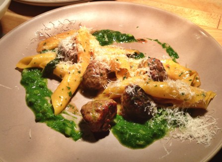 Garganelle with duck polpettini & ramp pesto.