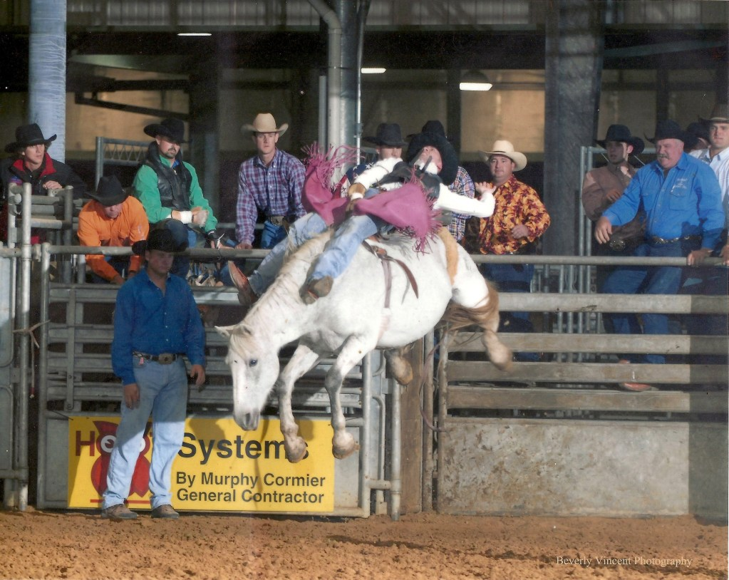 An image of a barbeback bronco riding from Rockin J rodeos.