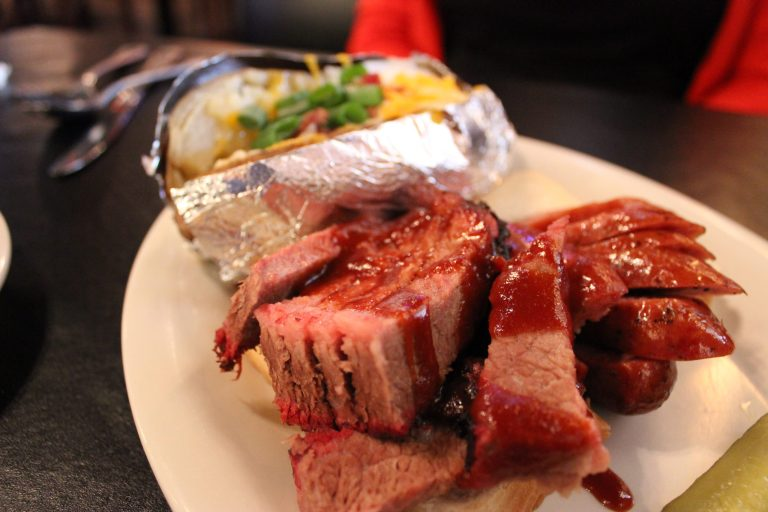 An image of a barbeque plate from Silver Star Smokehouse