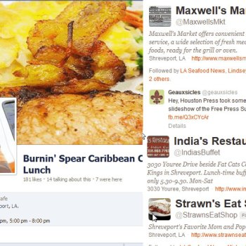 An image displaying the social media accounts of Shreveport-Bossier restaurants