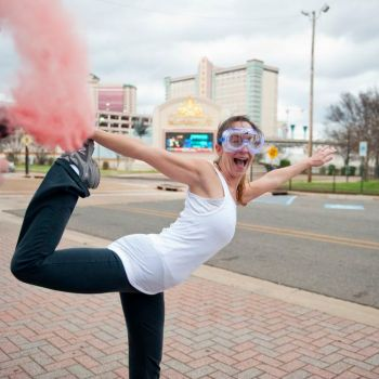 Stretching before color run