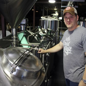 Andrew Nations stands atop the brewhouse at Great Raft Brewing in Shreveport