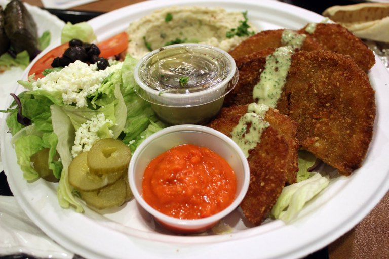 A photo of a fried eggplant platter from Pita de Novo