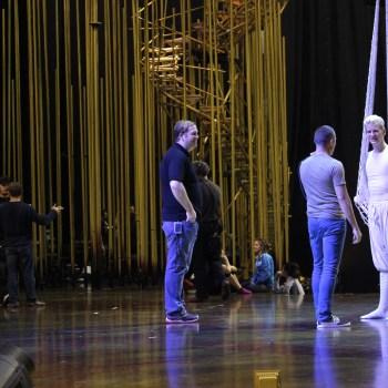 "A photo of an actor rehearsing for Cirque du Soleil's ""Varekai"""