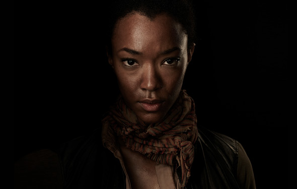 "A promotional image of the character of ""Sasha"" from The Walking Dead"