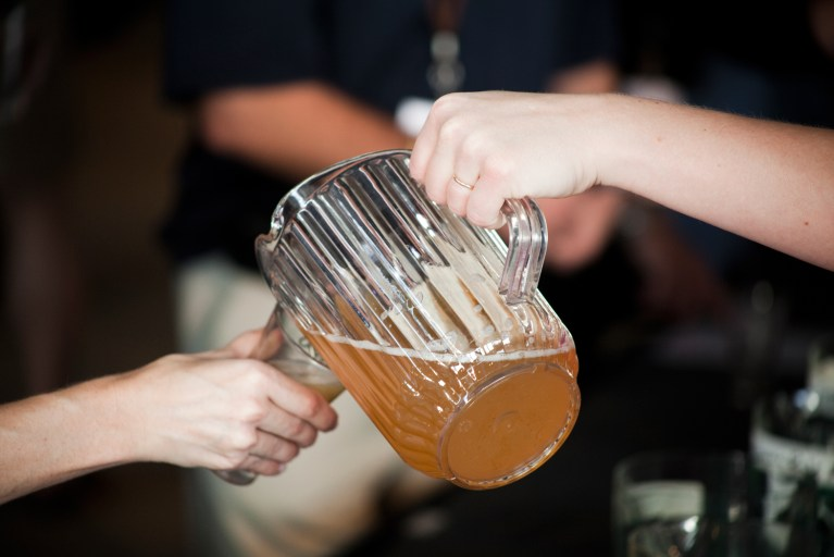 A photo of beer being poured
