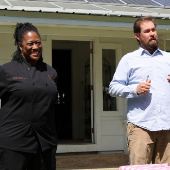 A photo of Chef Hardette Harris and farmer Evan McCommon