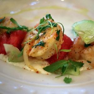 A photo of a shrimp and watermelon salad