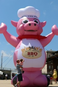 A photo of an inflatable pig