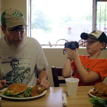 Mark and Liam Pachankis review a burger