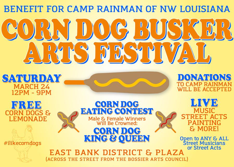 A flyer for the Corn Dog Busker Arts Festival