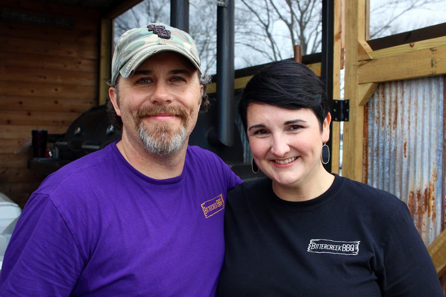 A photo of the proprietors of Bittercreek BBQ.