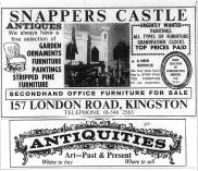Advert for Snapper's Antiques shop, from Surrey Comet 10th February 1973 p6