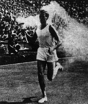 John Mark entering Wembley with the Olympic Flame, 1948