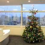 Office Christmas Tree Red Gold And Silver Flowers By Flourish