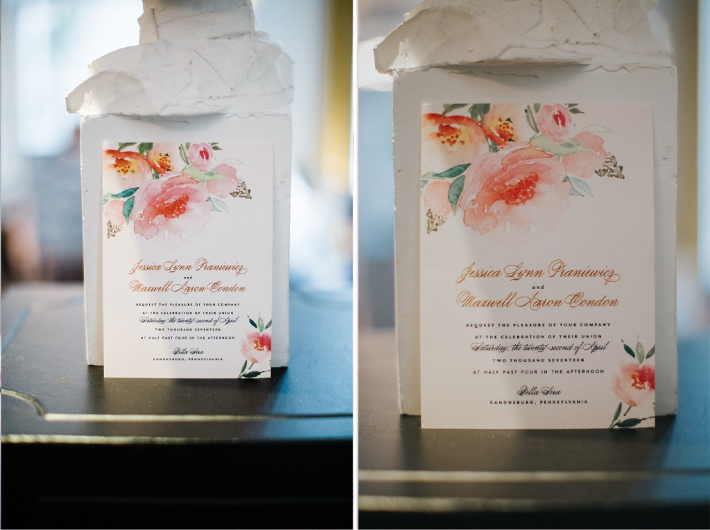 Navy, Pink and Gold Floral Invitations   Blush Paper Co