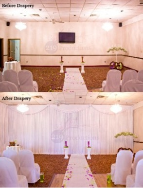 Before and After Drapery at the Croatian Center in Merrillville, Indiana