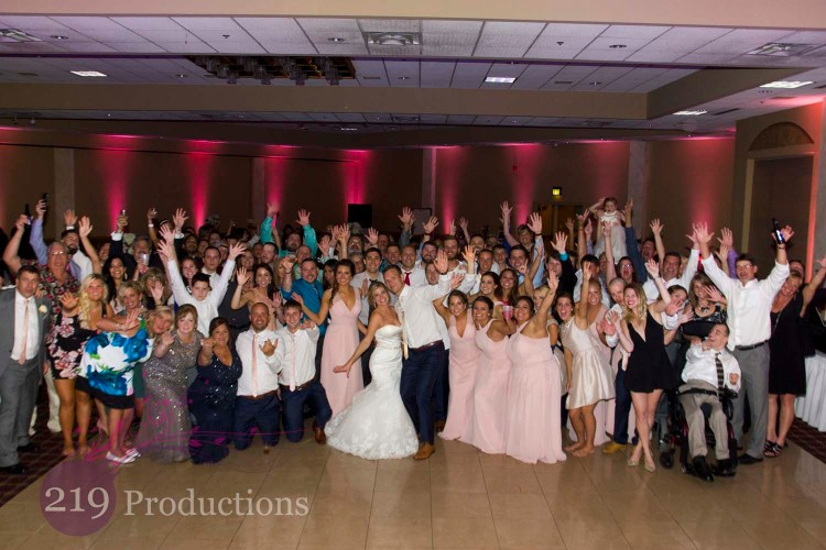 Villa Cesare Wedding Pink Uplighting Group Photo