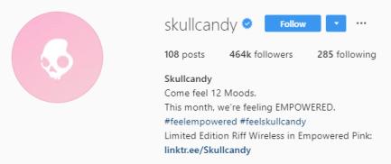 скриншот шапки профиля Skull Candy's