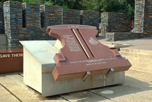 Plaque commemorating the apartheid struggle unveiled by Nelson Mandela in Soweto, South Africa