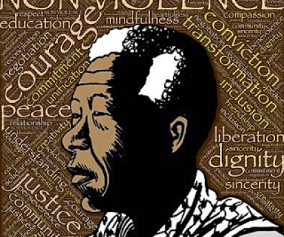 An artists' depiction of Nelson Mandela and what he stood for including Justice, dignity and courage