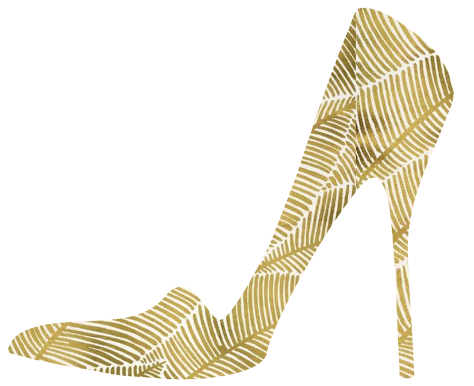 artistic representation of a gold high heel