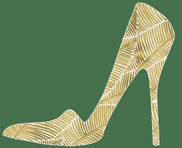 artistic representation of a gold high heel