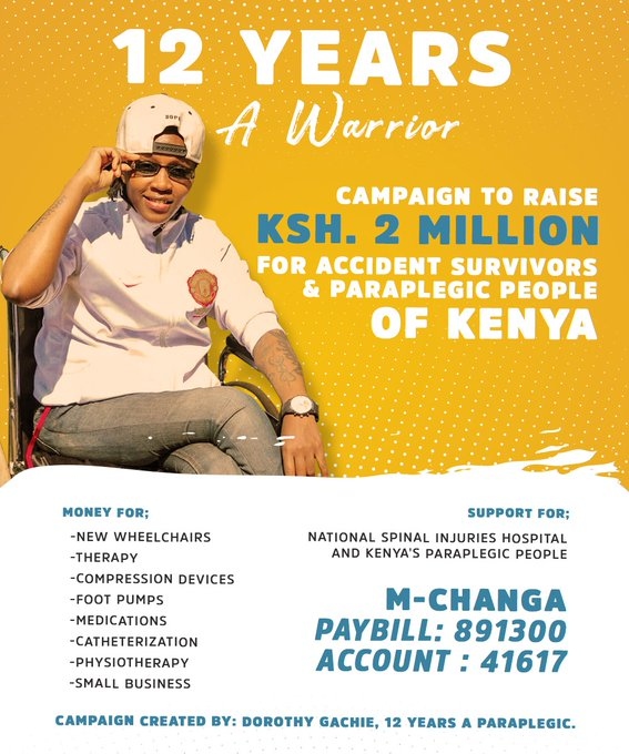 12 Years A Warrior campaign poster. Money to be raised for new wheelchairs, therapy, compression devices, foot pumps, medications, catheterization, physiotherapy, small business through M-CHANGA paybill 891300 account 41617