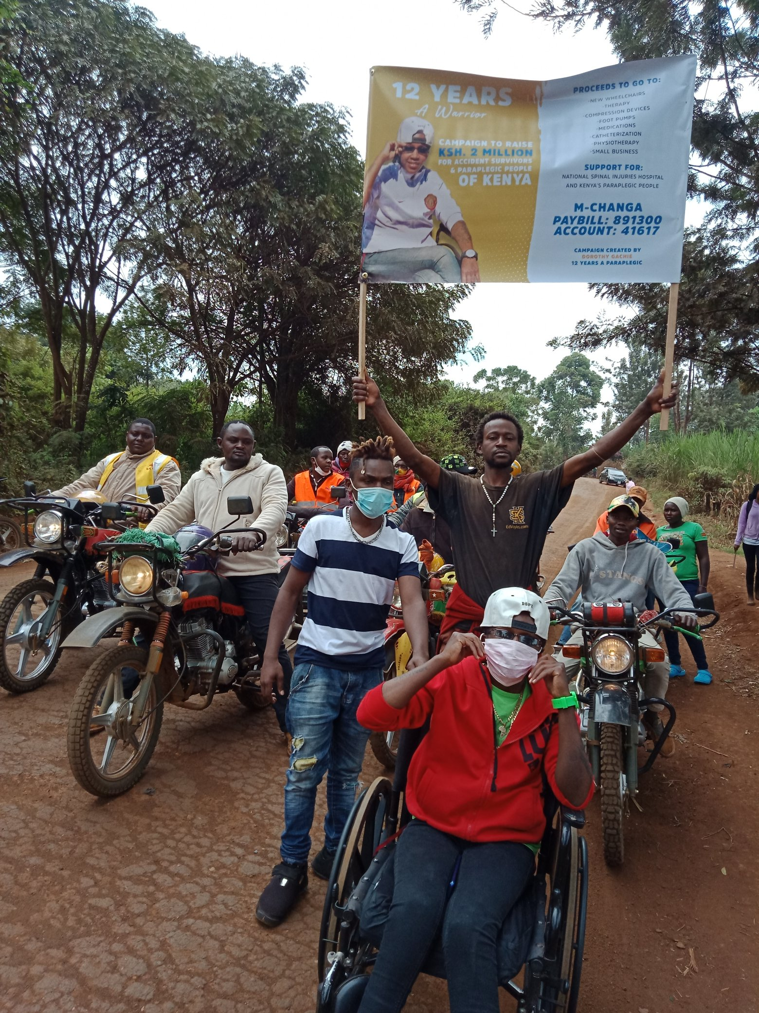 Dorothy seen off by boda boda riders in Embu