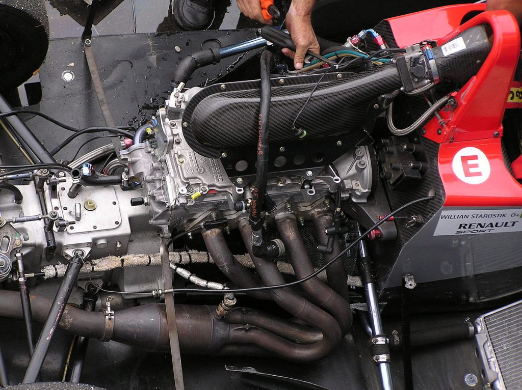 engine of formula 1 race car. The ICE of these cars is often mistaken for being responsible for the substantial F1 series carbon footprint