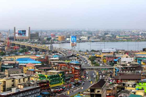 a bridge in lagos Nigeria with waterfront commercial developments