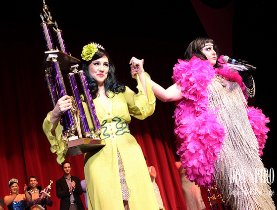 Miss Astrid announces Indigo Blue as the Reigning Queen of Burlesque, 2011. (©Don Spiro)