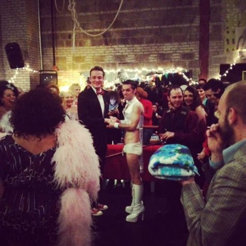 The surprise wedding of David Bishop to Vincent Van Gogo, officiated by Foxy Tann. ©Frenchie Kiss